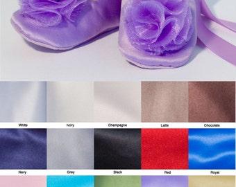 Lilac Satin Flower Girl Shoe, Easter Lavender Toddler Baby Ballet Slipper, Toddler Wedding Shoe, Satin Ballet Slipper Dance shoe, Baby Souls
