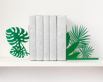 Tropical bookends Monstera & palm leaves book ends Beach decor Metal bookends Modern book end Tropical art Bookworm for her Book shelf