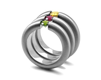 Stacking Tension Set Gemstone Rings in Brushed Stainless Steel Cocktail Ring
