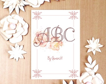 ARTBOOK,retro and vintage style,  illustrated art  book, French ABC