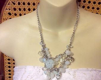 Multi strand glass moonstone crystal beads beaded necklace.