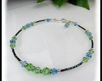 2100, Peridot and Aquamarine crystal anklet, Summer anklets, Beach wear, Beach jewelry, Green anklets, Green jewelry, Crystal jewelry