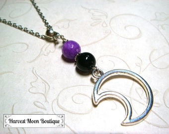 Moon Necklace, Moon Jewelry, Lunar Necklace, Lunar Jewelry, Celestial Necklace, Celestial Jewelry, Onyx Gemstone, Jade, Purple Black Beaded