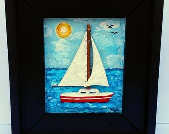 Sailboat Painting Original Nautical Framed Gift 3D Mixed Media by Anthony Thomas