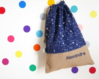 Customizable drawstring pouch - kindergarden - constellations - stars - sky - science - space - blue - school - cuddly toy - slippers - toys