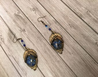 Bronze earrings with blue beads and stone