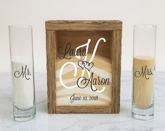 Rustic Barnwood Unity Sand Shadow Box Set, Wedding Unity Candle Alternative for Barn, Beach, Rustic, Country, Outdoor or Traditional Wedding