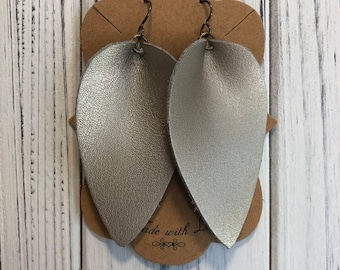 Champagne Gold Leather Leaf  Earrings on Bronze Niobium Fish Hook