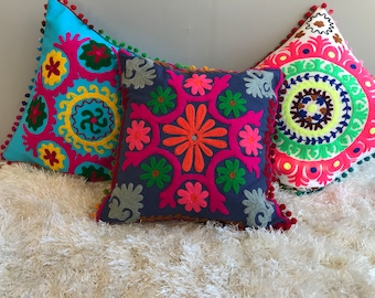 Colorful, Vibrant Indian/ Rajasthani Suzani Pillows With Insert