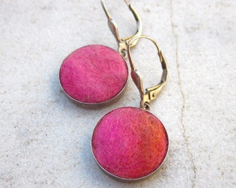 Hot pink felt earrings sterling silver drop earrings circle earrings minimalist jewelry geometric earrings round wool earrings