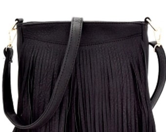ASSORTED COLORS - Long Fringed Crossbody