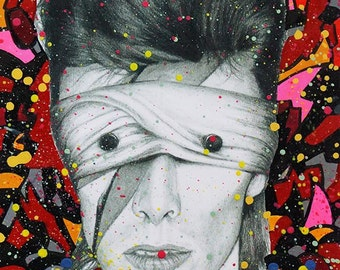 David Bowie Lazarus Aladdin Sane Abstract painting on charcoal pencil drawing version 2 fine art fan art print wall decor