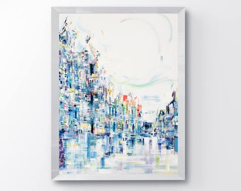 Abstract cityscape, wall art, cityscape, art print, abstract art print, modern art, fine art prints, abstract painting, contemporary, modern