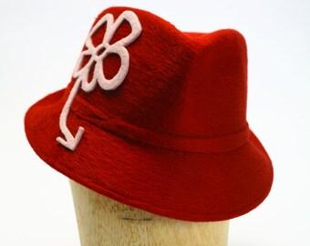 Graffiti- Red Beaver Fur Felt Fedora Winter Hat with Pale Pink Velour Fur Felt Flower #WomenHats #Millinery #Winter #Penny Klein # Felt Hat