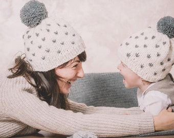 Snowy Hat, knitting pattern, PDF pattern, chunky, stylish warmth, 3 sizes hat, cozy hat,