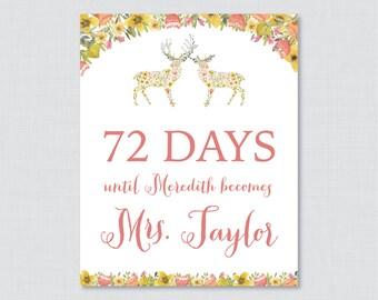 Days Until Mrs Woodland Bridal Shower Sign Printable - Floral Deer Bridal Shower Days Until Wedding Sign - Whimsical Woodland Bridal 0022