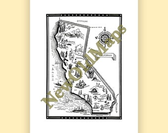 Washington vintage 1960s illustrated map digital download california vintage 1960s illustrated map digital download state wall art do it yourself solutioingenieria Images