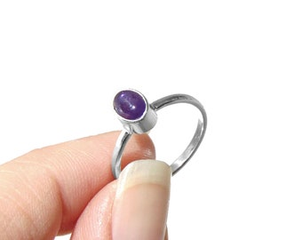 Little Amethyst Ring in Sterling Silver - Stackable Ring - Stacking Ring