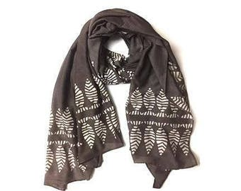 Brown Scarf Scarves, Beach Sarong, Birthday Gift for Women, SAMPLE SALE, anniversary present Scarf, Block Print wrap, natural dye -kutch