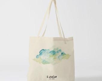 X114Y tote bag watercolor green cloud, canvas bag, bag cotton, purse, bag bag, shopping bag, bag course, computer bag
