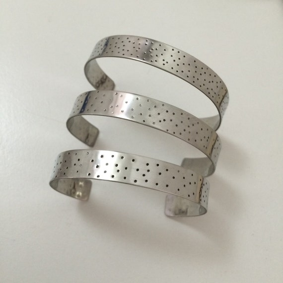 Stainless Steel Spotty Cuff - Silver - Adjustable - Bangle - Stacker - Festival - Gypsy - Lightweight - Boho - Hammered - Handmade - Stamped