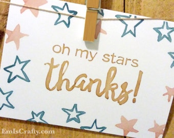 Oh my stars, Thanks. Thank You Greeting Cards. Buy a Card, Feed a Baby. A6 - various quantities - includes envelopes.