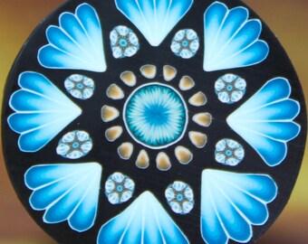 MEDIUM Blue Polymer Clay Flower Cane (22dd)