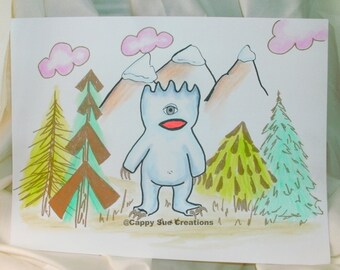 Yetti sasquatch abominable snowman cyclops water color illustration fine original art for weirdos I want to believe