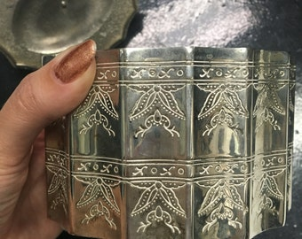 Vintage, Velvet Lined, Silver, Intricate, Jewelry Box