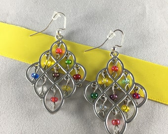 Multi Color and Silver Chandelier Earrings