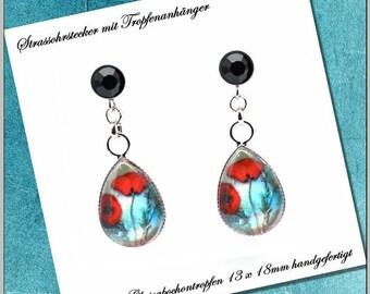 Earrings drops 13 x 18 mm Cabochonschmuck poppy flowers