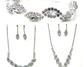Silver Rhinestone Bridal Jewelry Set, Wedding Jewelry Set, Bridesmaid Jewelry, Bridesmaid Gift, Prom Jewelry