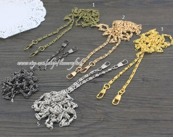 2pcs 120cm(47.2''), Bronze, Gold, Silvery ,Gunmetal Light golden 4mm metal chains for purse bag shoulder handbag tote strap handle