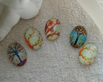 CABOCHONS ARBRES VINTAGE lot de 5 cabochons 2.5 cm  en verre ovales arbres vintage fleurs et oiseaux  pour supports