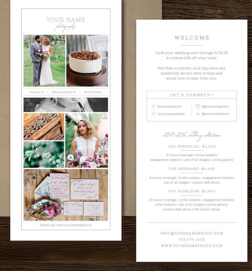 Rack Card Template for Photographers Wedding Photographer
