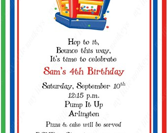 10 Bounce House Birthday  Invitations with Envelopes.  Free Return Address Labels