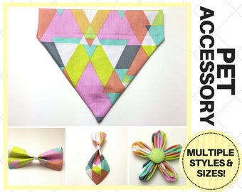 Neon Triangles Pet Accessory - Over the Collar - Custom - Bandana, Bow Tie, Neck Tie, Flower, Waste Bag Dispenser