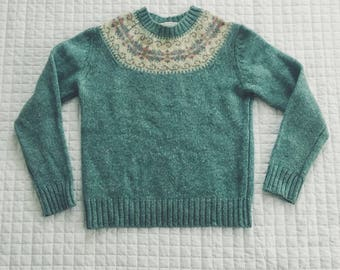 Soft Teal 100% Shetland Wool Holiday Sweater