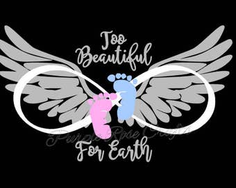 Too Beautiful For Earth Miscarriage Infant Baby Loss Infinity Wings Decal Sticker Cling for Window, Car, Cup, Laptop, Tablet