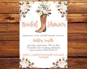 Bridal Shower Invitation, Bridal Invitation, Country Bridal Shower Invitation