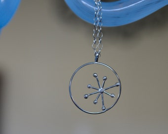 """Handmade Retro Starburst in Circle - Sterling Silver Soldered Pendant - 18"""" Sterling Silver Chain"""