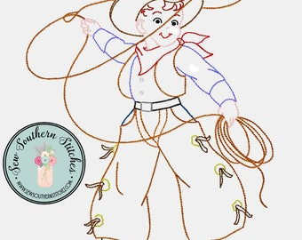 Sketched CowBoy Embroidery Design ~ Instant Download ~ Vintage~Sketch~Bean~Heirloom Stitch