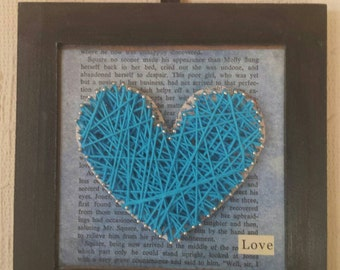 Small,blue framed Pin and String Art loveheart