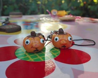 Pumpkin key ring fimo polymer clay