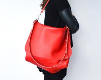 Handbag leather bag Made in Italy messenger bag red shoulder bag