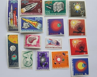 Lot of 15 pcs Mix Space Postage Stamps,Mongolia Post Stamp,USSR Post Stamp,Appollo 11,Briefmarke,Polska Post Stamp,Togolaise Stamp