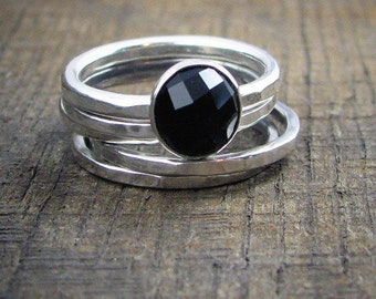Faceted Black Onyx Sterling Stacking Rings - Set of 4 hammered and 1 wide hammered - MADE TO ORDER