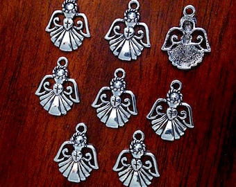 12 Angel Charms, Antique Silver Charms, Angel Charms, Angel Wing Charms, Angel Pendants, Findings, Craft and Jewelry Supplies