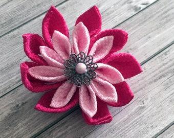 Pink Kanzashi tsumami flower hairpiece