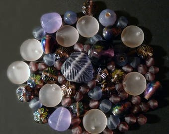 Purple Indian glass beads, rose of various shapes
